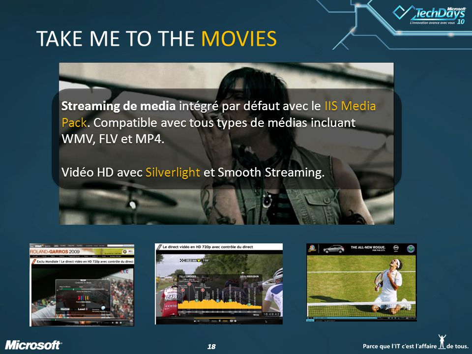 18 TAKE ME TO THE MOVIES Streaming de media intégré par défaut avec le IIS Media Pack.