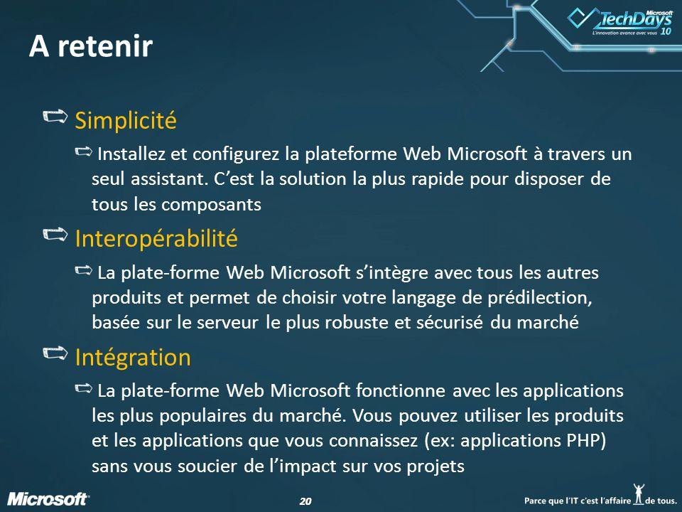 20 A retenir Simplicité Installez et configurez la plateforme Web Microsoft à travers un seul assistant.