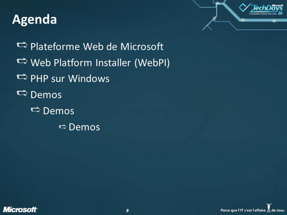 33 Agenda Plateforme Web de Microsoft Web Platform Installer (WebPI) PHP sur Windows Demos