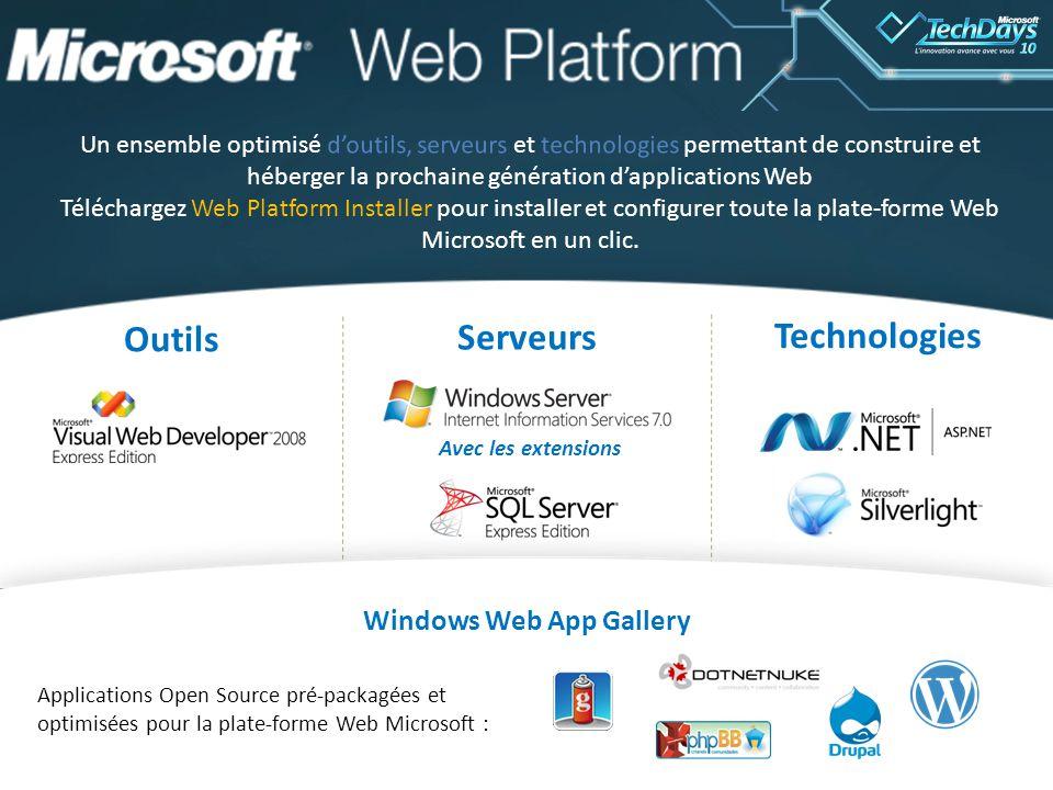 66 Outils Serveurs Technologies Windows Web App Gallery Applications Open Source pré-packagées et optimisées pour la plate-forme Web Microsoft : Avec les extensions