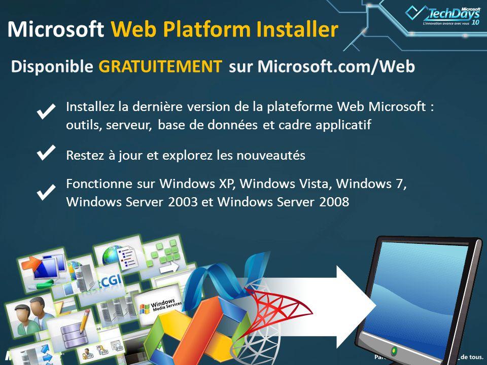 77 Microsoft Web Platform Installer Disponible GRATUITEMENT sur Microsoft.com/Web Installez la dernière version de la plateforme Web Microsoft : outils, serveur, base de données et cadre applicatif Restez à jour et explorez les nouveautés Fonctionne sur Windows XP, Windows Vista, Windows 7, Windows Server 2003 et Windows Server 2008