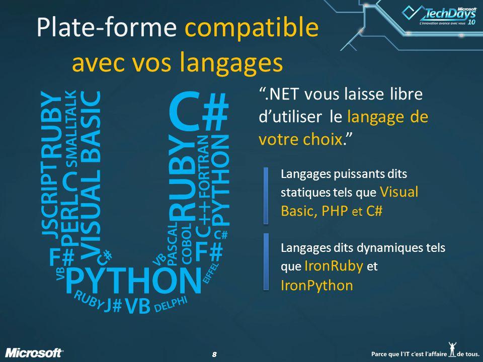 88 Plate-forme compatible avec vos langages Langages puissants dits statiques tels que Visual Basic, PHP et C# Langages dits dynamiques tels que IronRuby et IronPython.NET vous laisse libre dutiliser le langage de votre choix.