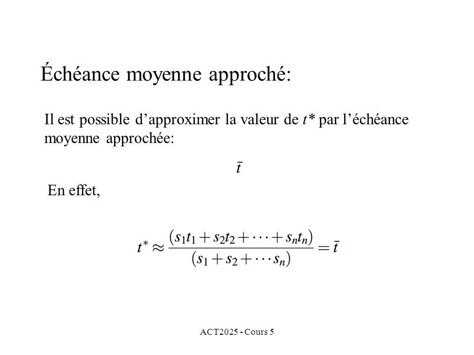 ACT2025 - Cours 5 Échéance moyenne approché: Il est possible dapproximer la valeur de t* par léchéance moyenne approchée: En effet,