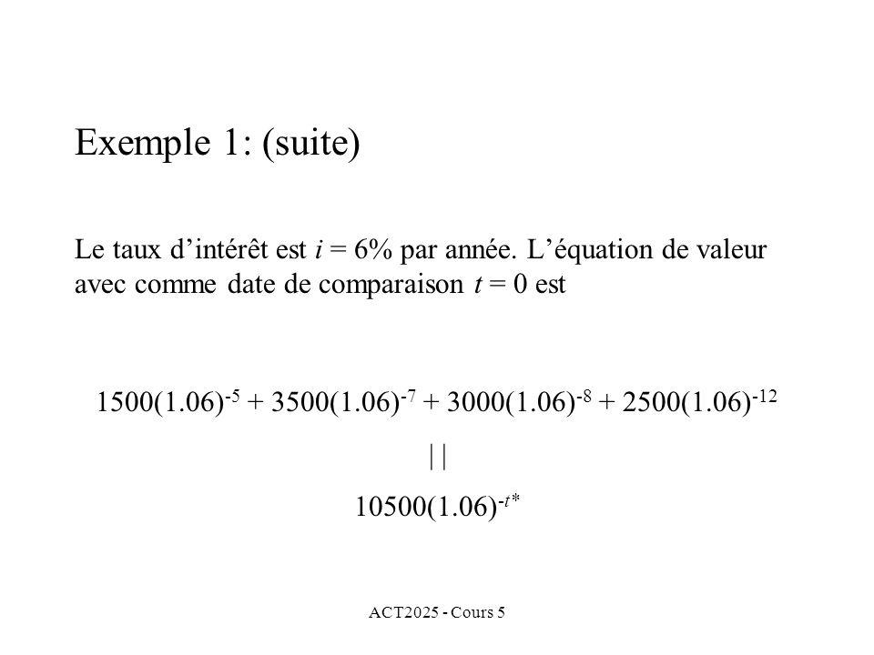 ACT2025 - Cours 5 Le taux dintérêt est i = 6% par année.
