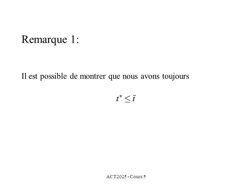 ACT2025 - Cours 5 Il est possible de montrer que nous avons toujours Remarque 1: