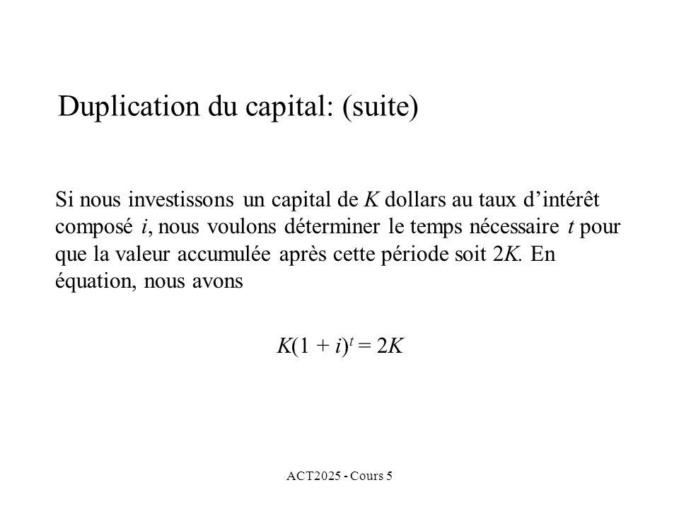 ACT2025 - Cours 5 Si nous investissons un capital de K dollars au taux dintérêt composé i, nous voulons déterminer le temps nécessaire t pour que la valeur accumulée après cette période soit 2K.