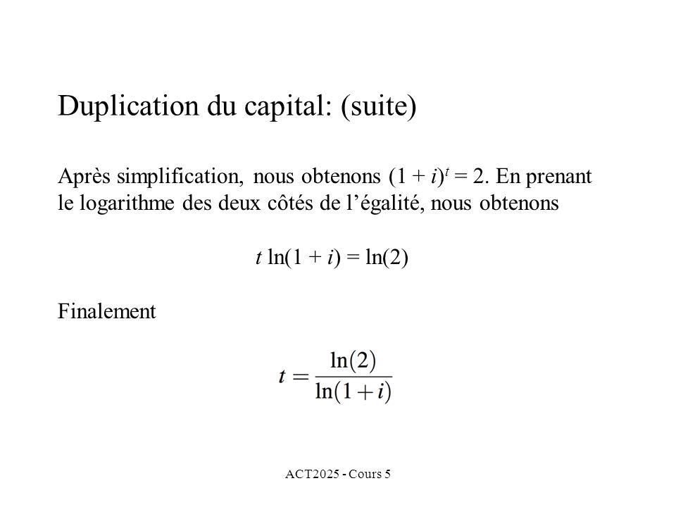 ACT2025 - Cours 5 Après simplification, nous obtenons (1 + i) t = 2.