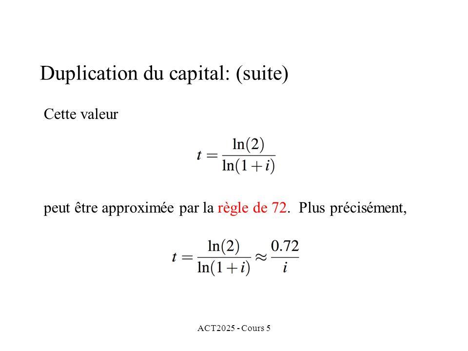 ACT2025 - Cours 5 Cette valeur peut être approximée par la règle de 72.