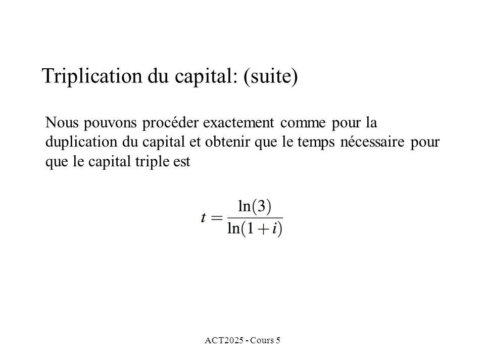 ACT2025 - Cours 5 Nous pouvons procéder exactement comme pour la duplication du capital et obtenir que le temps nécessaire pour que le capital triple est Triplication du capital: (suite)