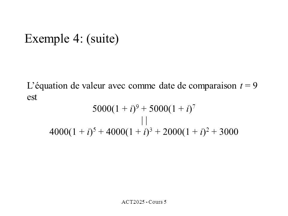 ACT2025 - Cours 5 Léquation de valeur avec comme date de comparaison t = 9 est 5000(1 + i) 9 + 5000(1 + i) 7 | 4000(1 + i) 5 + 4000(1 + i) 3 + 2000(1 + i) 2 + 3000 Exemple 4: (suite)