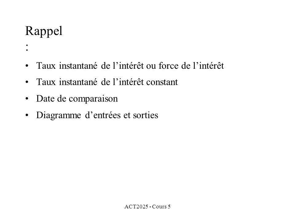 ACT2025 - Cours 5 Rappel : Taux instantané de lintérêt ou force de lintérêt Taux instantané de lintérêt constant Date de comparaison Diagramme dentrées et sorties Équation de valeur