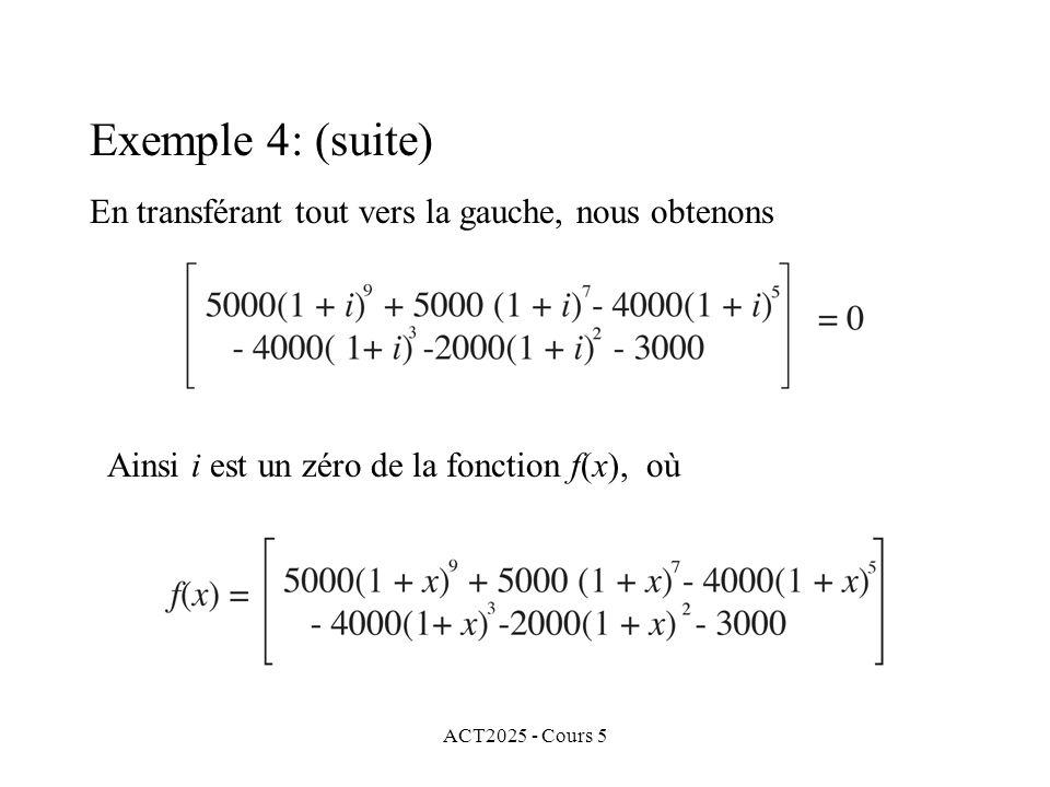 ACT2025 - Cours 5 Exemple 4: (suite) En transférant tout vers la gauche, nous obtenons Ainsi i est un zéro de la fonction f(x), où