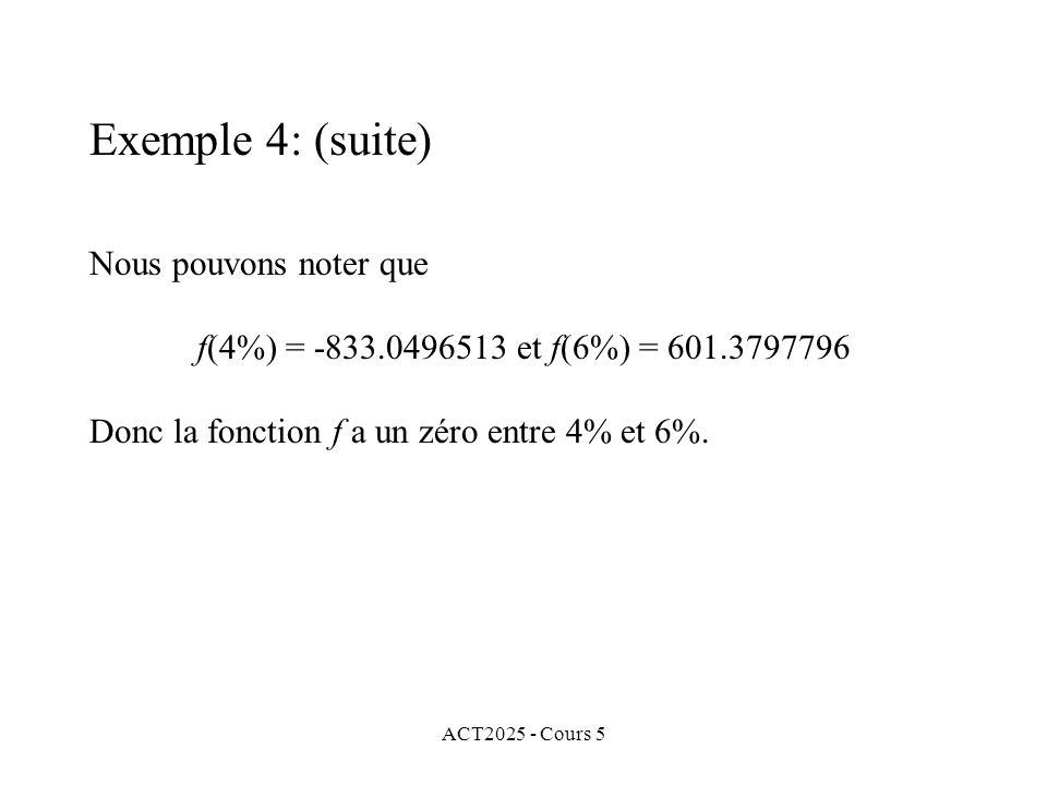 ACT2025 - Cours 5 Nous pouvons noter que f(4%) = -833.0496513 et f(6%) = 601.3797796 Donc la fonction f a un zéro entre 4% et 6%.