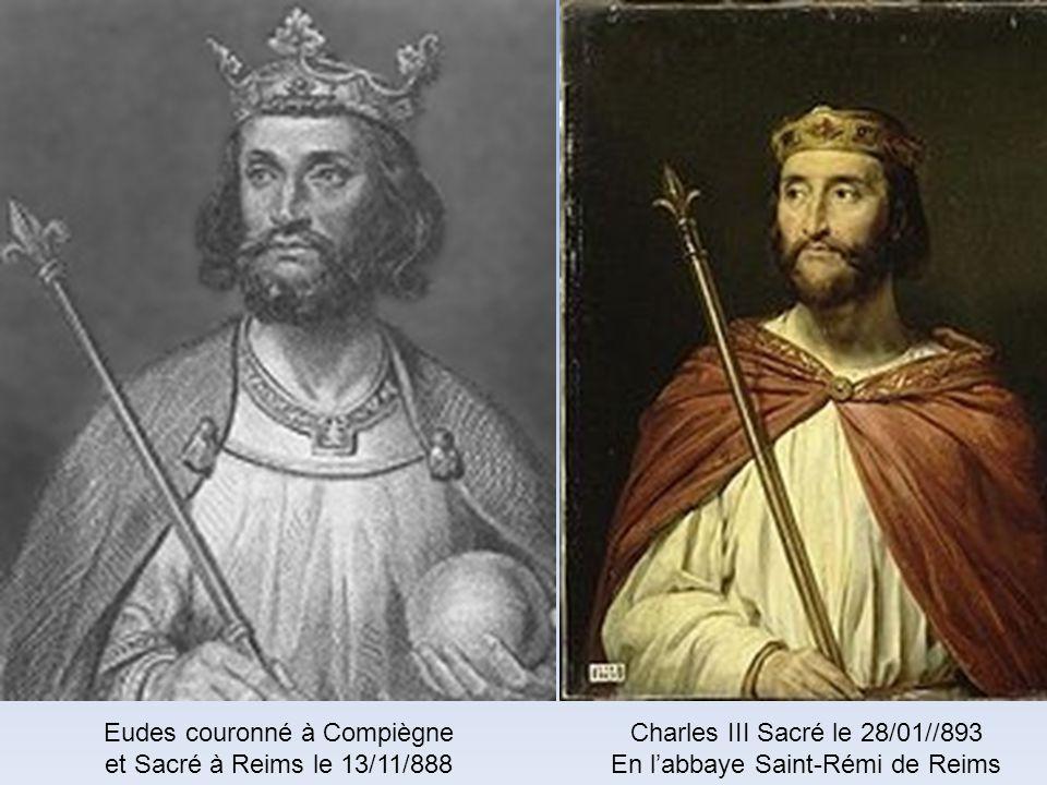 Louis 1 er dit le Pieux, couronné et sacré par le pape Etienne IV à Reims Charlemagne et son fils Louis le Pieux