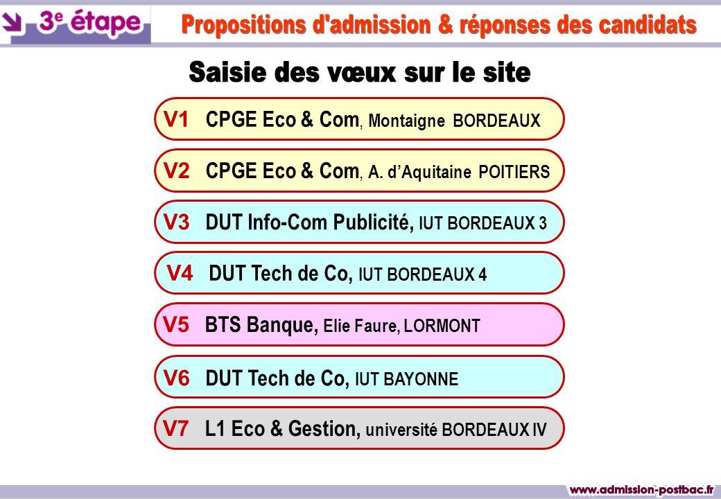 OUI définitif Jeudi 7 juin Mardi 12 juin RÉSULTATREPONSE Formation PROPOSÉE V1 CPGE Eco & Com, Montaigne BORDEAUX V3 DUT Info-Com Publicité, IUT BORDEAUX 3 V4 DUT Tech de Co, IUT BORDEAUX 4 V6 DUT Tech de Co, IUT BAYONNE V7 L1 Eco & Gestion, université BORDEAUX IV V2 CPGE Eco & Com, A.