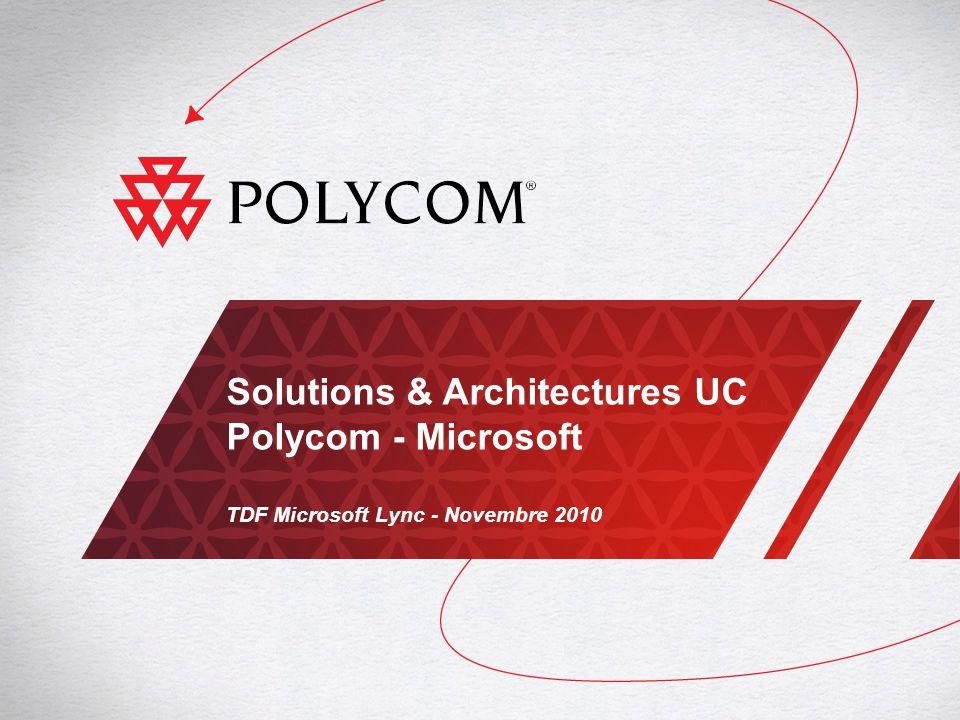 2TDF Microsoft Lync - Communications Unifiées Polycom / Microsoft Microsoft et Polycom : Better Together ENRICHIR LES SOLUTIONS DE COMMUNICATIONS UNIFIÉES MICROSOFT POUR LE BÉNÉFICE DES ENTREPRISES Solution complète, ouverte, interopérable Communications multi médias en continu : IM, voix, vidéo, données Couverture totale : poste de travail, salles de conférence, suites de téléprésence, terminaux mobiles, sites distants Expérience utilisateur unique et simple Voix et vidéo Polycom HD Fonctions avancées tel que laccès au calendrier Outlook État de présence des terminaux Collaboration et communications temps réel optimisées