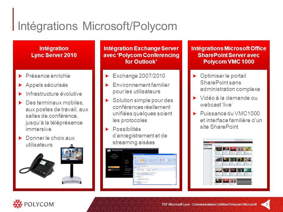 3TDF Microsoft Lync - Communications Unifiées Polycom / Microsoft Optimiser le portail SharePoint sans administration complexe Vidéo à la demande ou w
