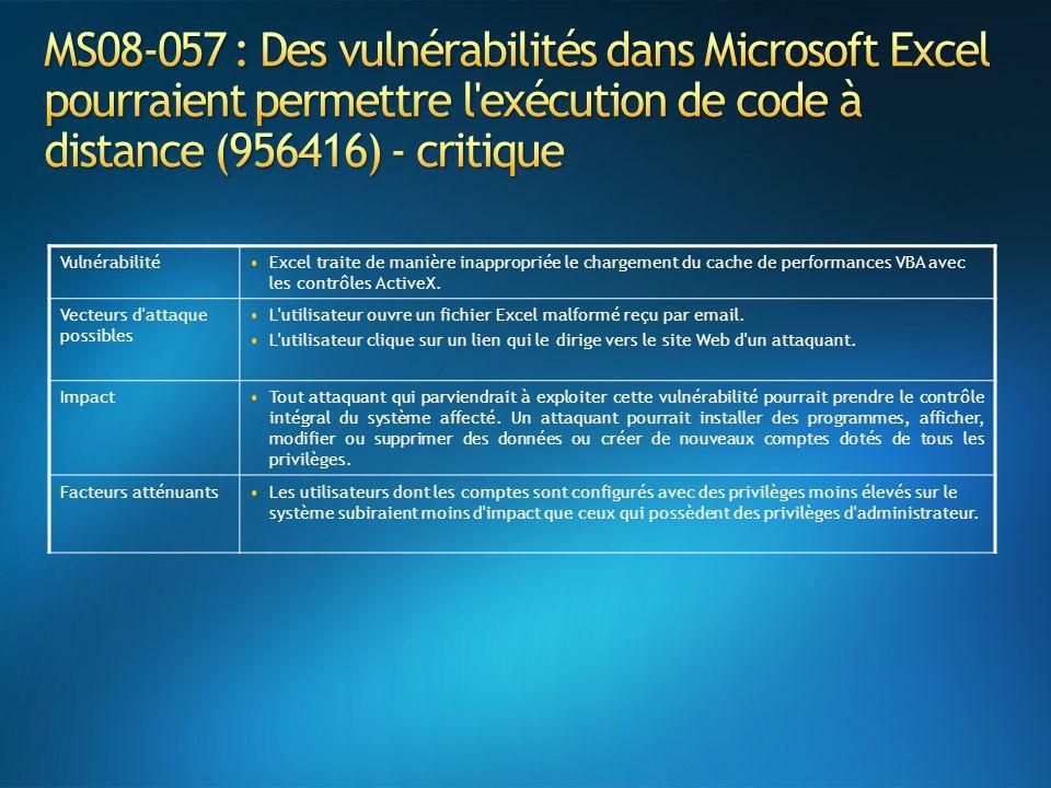 VulnérabilitéExcel traite de manière inappropriée le chargement du cache de performances VBA avec les contrôles ActiveX. Vecteurs d'attaque possibles