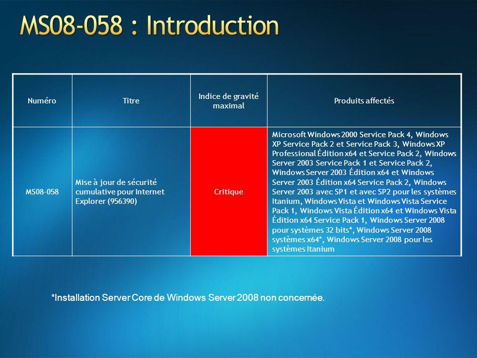 NuméroTitre Indice de gravité maximal Produits affectés MS08-058 Mise à jour de sécurité cumulative pour Internet Explorer (956390) Critique Microsoft
