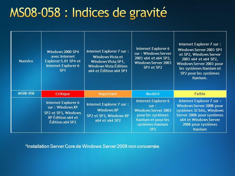 Numéro Windows 2000 SP4 avec Internet Explorer 5.01 SP4 et Internet Explorer 6 SP1 Internet Explorer 7 sur : Windows Vista et Windows Vista SP1, Windows Vista Édition x64 et Édition x64 SP1 Internet Explorer 6 sur : Windows Server 2003 x64 et x64 SP2, Windows Server 2003 SP1 et SP2 Internet Explorer 7 sur : Windows Server 2003 SP1 et SP2, Windows Server 2003 x64 et x64 SP2, Windows Server 2003 pour les systèmes Itanium et SP2 pour les systèmes Itanium.