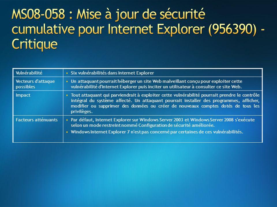 VulnérabilitéSix vulnérabilités dans Internet Explorer Vecteurs d attaque possibles Un attaquant pourrait héberger un site Web malveillant conçu pour exploiter cette vulnérabilité d Internet Explorer puis inciter un utilisateur à consulter ce site Web.