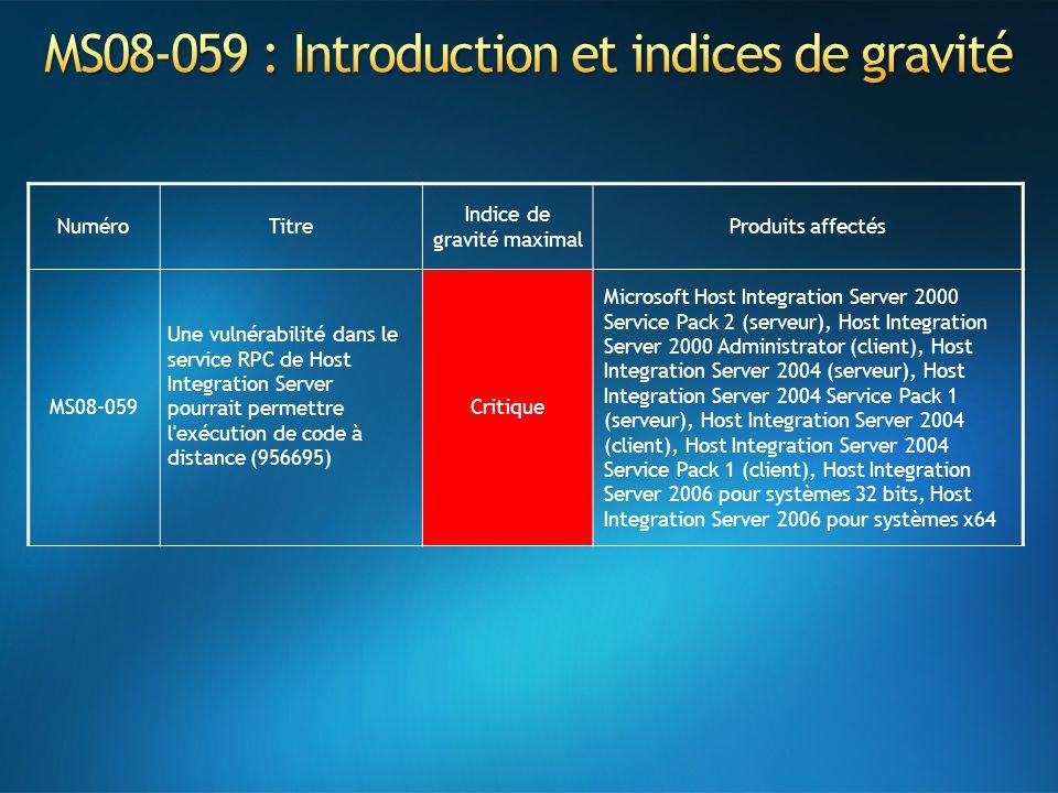 NuméroTitre Indice de gravité maximal Produits affectés MS08-059 Une vulnérabilité dans le service RPC de Host Integration Server pourrait permettre l