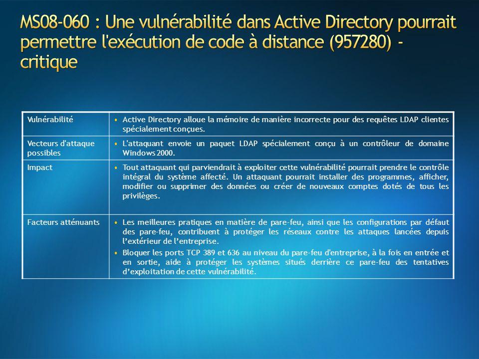 VulnérabilitéActive Directory alloue la mémoire de manière incorrecte pour des requêtes LDAP clientes spécialement conçues. Vecteurs d'attaque possibl