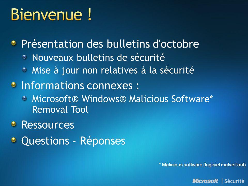 Présentation des bulletins d'octobre Nouveaux bulletins de sécurité Mise à jour non relatives à la sécurité Informations connexes : Microsoft® Windows
