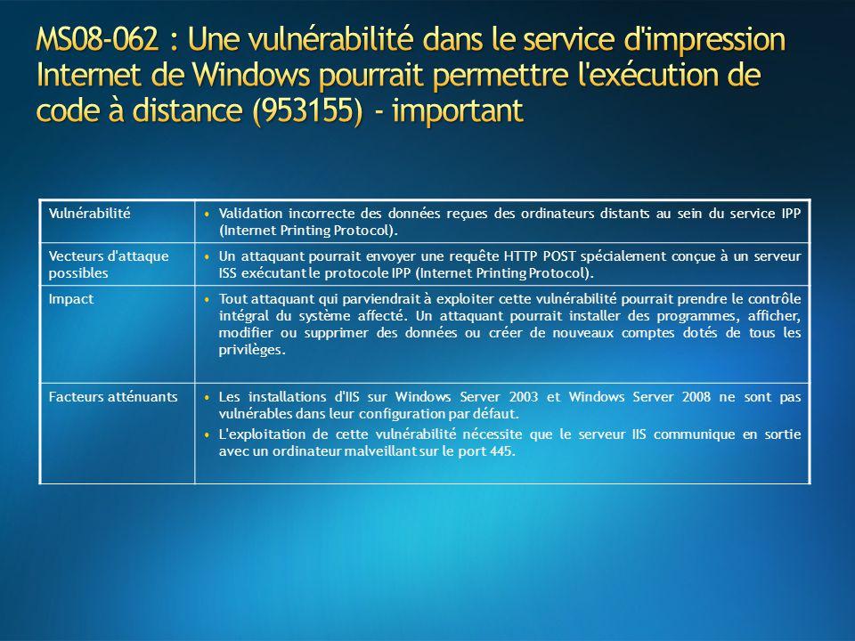 VulnérabilitéValidation incorrecte des données reçues des ordinateurs distants au sein du service IPP (Internet Printing Protocol).