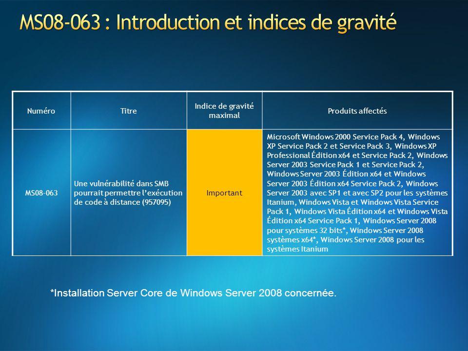 NuméroTitre Indice de gravité maximal Produits affectés MS08-063 Une vulnérabilité dans SMB pourrait permettre lexécution de code à distance (957095)
