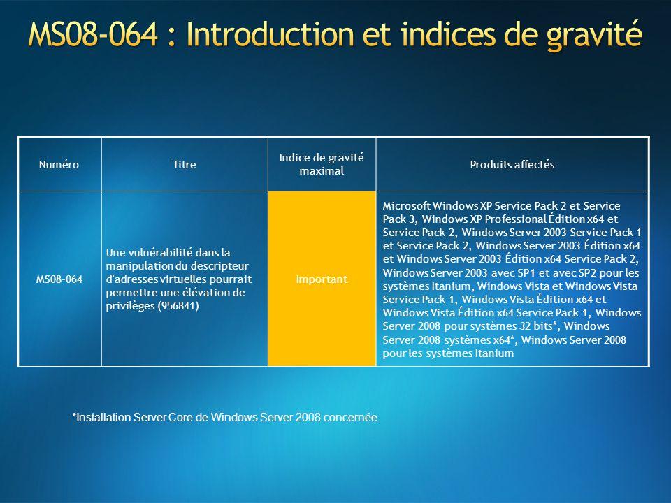 NuméroTitre Indice de gravité maximal Produits affectés MS08-064 Une vulnérabilité dans la manipulation du descripteur d'adresses virtuelles pourrait