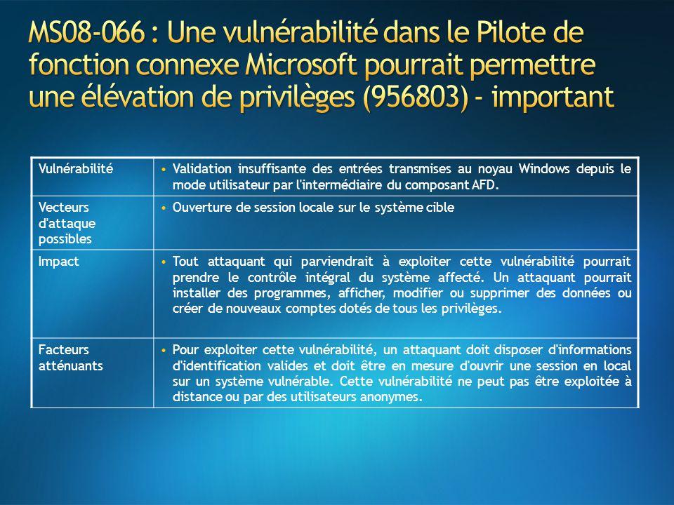 VulnérabilitéValidation insuffisante des entrées transmises au noyau Windows depuis le mode utilisateur par l'intermédiaire du composant AFD. Vecteurs