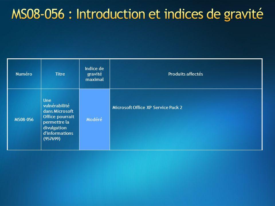 NuméroTitre Indice de gravité maximal Produits affectés MS08-056 Une vulnérabilité dans Microsoft Office pourrait permettre la divulgation d informations (957699) Modéré Microsoft Office XP Service Pack 2