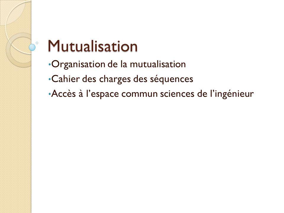 Mutualisation Organisation de la mutualisation Cahier des charges des séquences Accès à lespace commun sciences de lingénieur