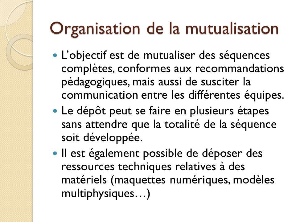 Organisation de la mutualisation Lobjectif est de mutualiser des séquences complètes, conformes aux recommandations pédagogiques, mais aussi de suscit