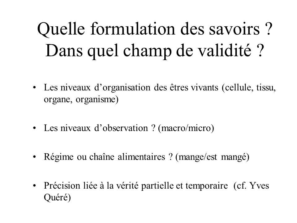 Quelle formulation des savoirs ? Dans quel champ de validité ? Les niveaux dorganisation des êtres vivants (cellule, tissu, organe, organisme) Les niv