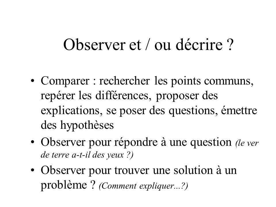 Observer et / ou décrire ? Comparer : rechercher les points communs, repérer les différences, proposer des explications, se poser des questions, émett