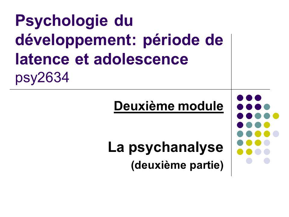 Psychologie du développement: période de latence et adolescence psy2634 Deuxième module La psychanalyse (deuxième partie)