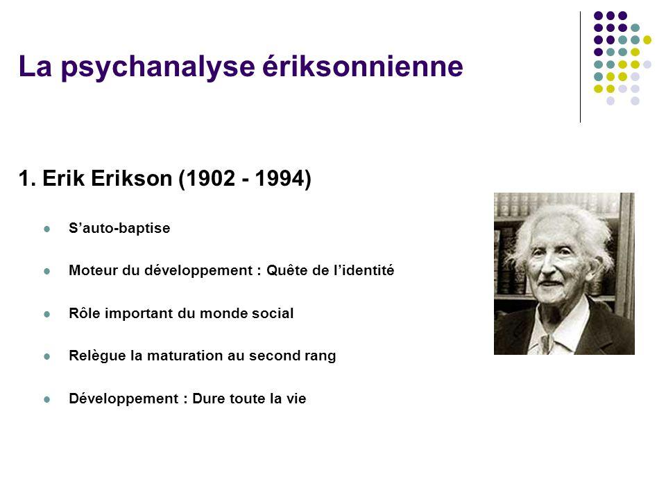 1. Erik Erikson (1902 - 1994) Sauto-baptise Moteur du développement : Quête de lidentité Rôle important du monde social Relègue la maturation au secon