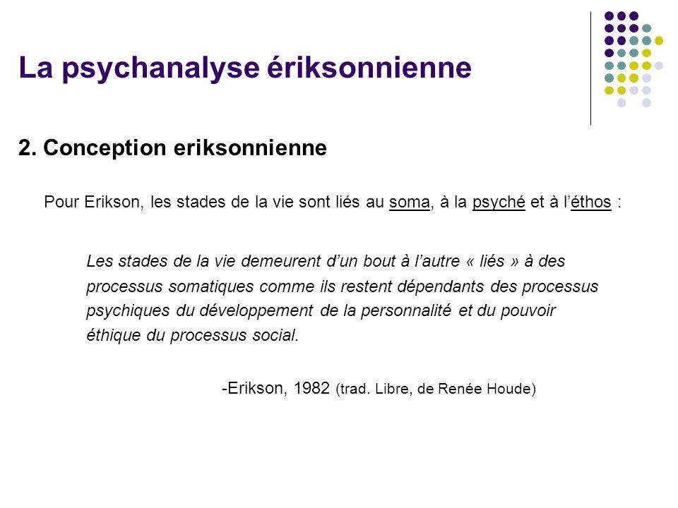 2. Conception eriksonnienne Pour Erikson, les stades de la vie sont liés au soma, à la psyché et à léthos : Les stades de la vie demeurent dun bout à
