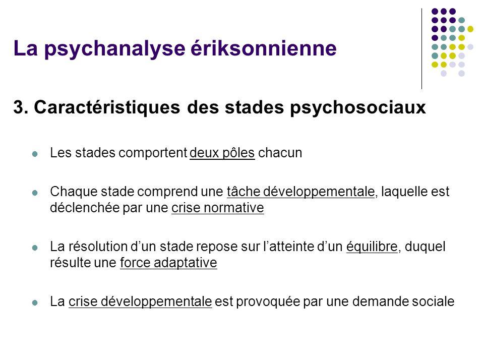 3. Caractéristiques des stades psychosociaux Les stades comportent deux pôles chacun Chaque stade comprend une tâche développementale, laquelle est dé