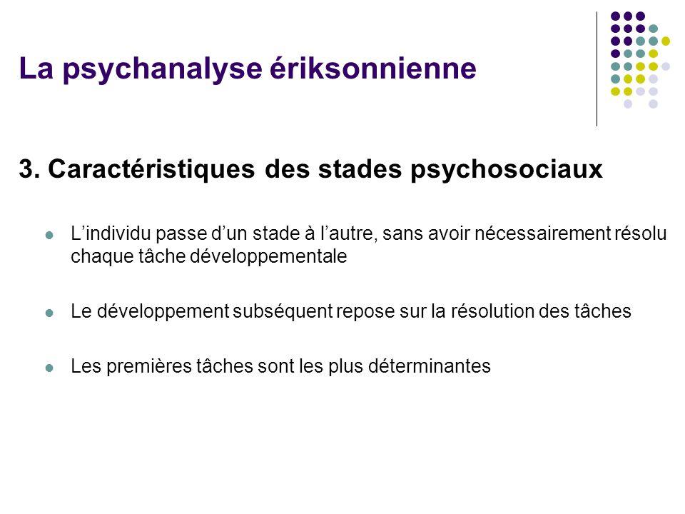 3. Caractéristiques des stades psychosociaux Lindividu passe dun stade à lautre, sans avoir nécessairement résolu chaque tâche développementale Le dév