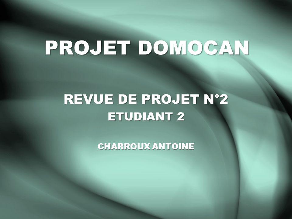 PROJET DOMOCAN REVUE DE PROJET N°2 ETUDIANT 2 CHARROUX ANTOINE