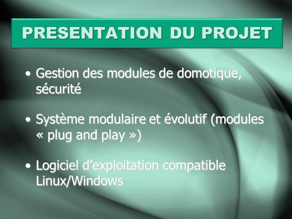 PRESENTATION DU PROJET Gestion des modules de domotique, sécuritéGestion des modules de domotique, sécurité Système modulaire et évolutif (modules « p