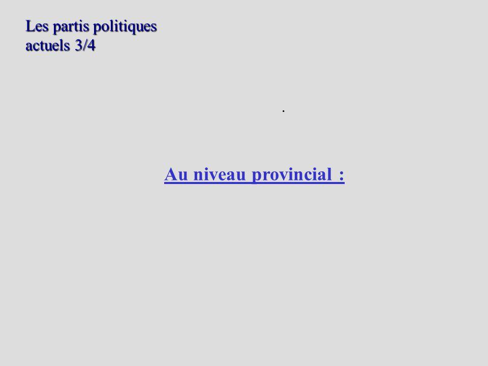 Les partis politiques actuels 3/4. Au niveau provincial :