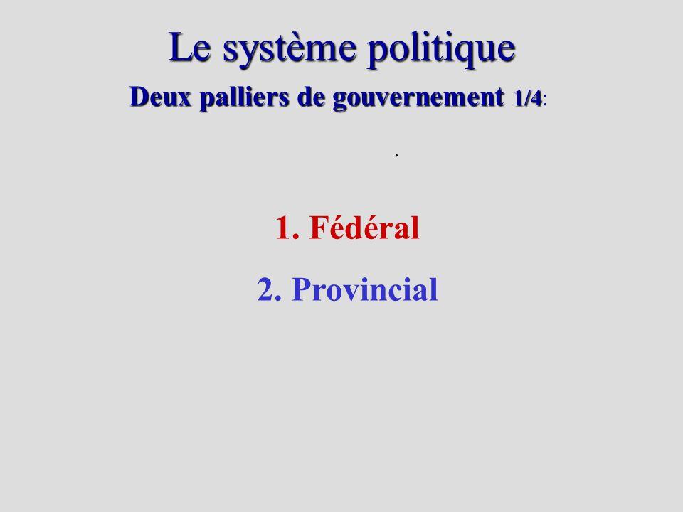 Le système politique. Deux palliers de gouvernement 1/4 Deux palliers de gouvernement 1/4: 1. Fédéral 2. Provincial