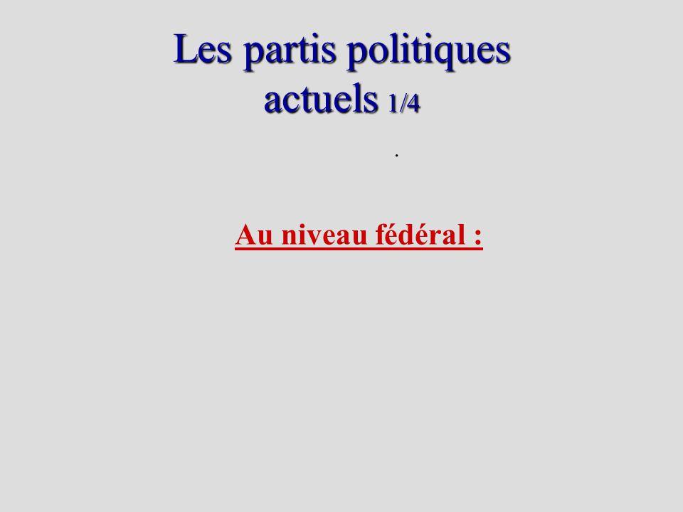 Les partis politiques actuels 1/4. Au niveau fédéral :