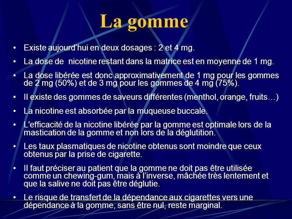 La gomme Existe aujourdhui en deux dosages : 2 et 4 mg. La dose de nicotine restant dans la matrice est en moyenne de 1 mg. La dose libérée est donc a