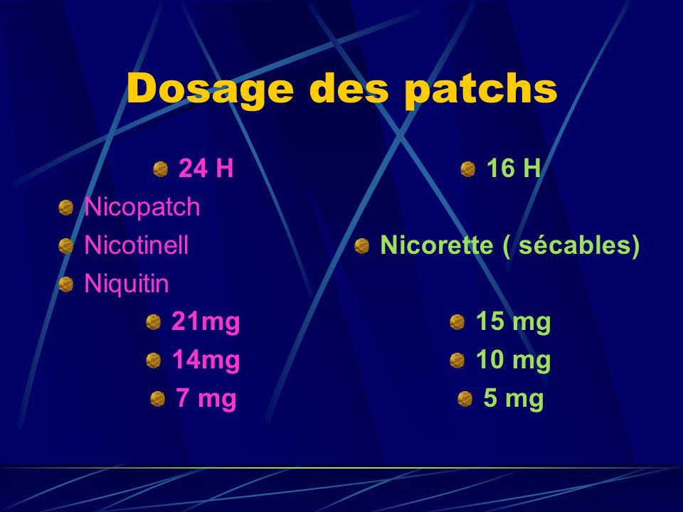 Dosage des patchs 24 H Nicopatch Nicotinell Niquitin 21mg 14mg 7 mg 16 H Nicorette ( sécables) 15 mg 10 mg 5 mg