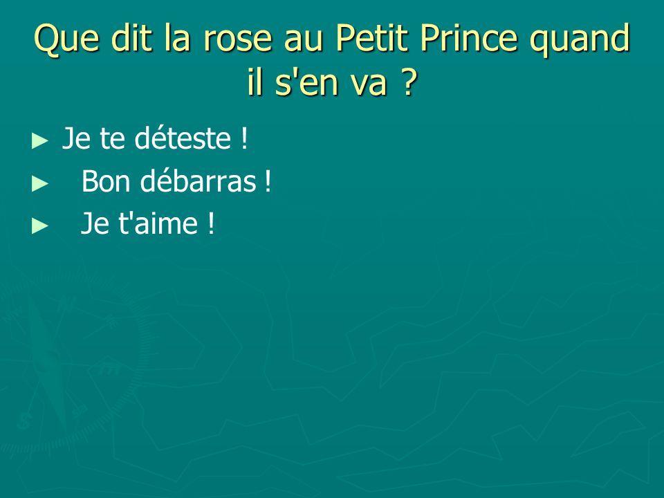 Que dit la rose au Petit Prince quand il s en va ? Je te déteste ! Bon débarras ! Je t aime !